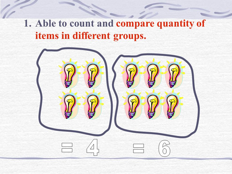 Able to count and compare quantity of items in different groups.