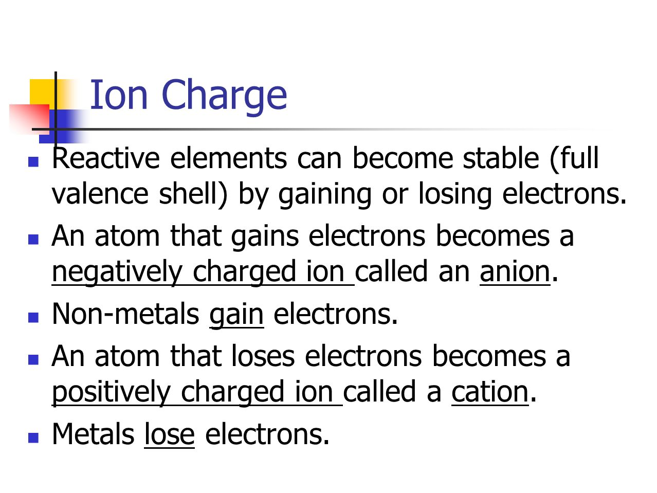 22 the periodic table p ppt video online download ion charge reactive elements can become stable full valence shell by gaining or losing gamestrikefo Choice Image