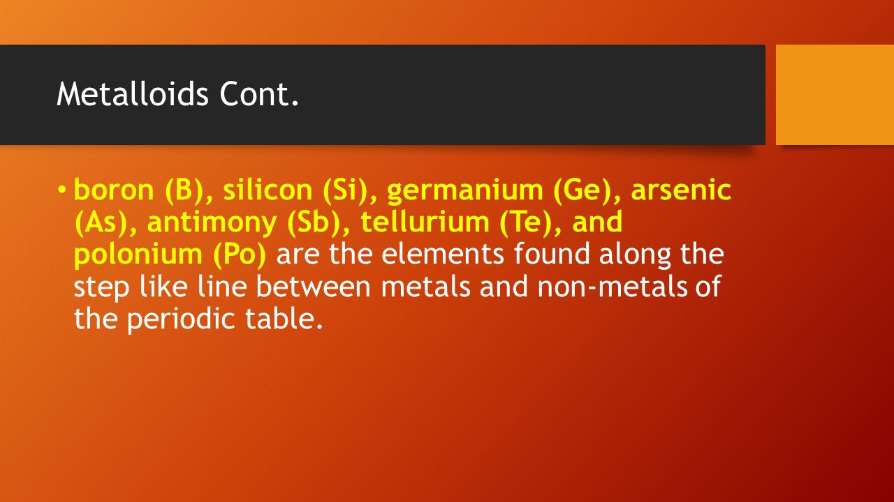 Aim how are elements organized in the periodic table ppt download antimony sb tellurium te and polonium po are the elements found along the step like line between metals and non metals of the periodic table gamestrikefo Choice Image