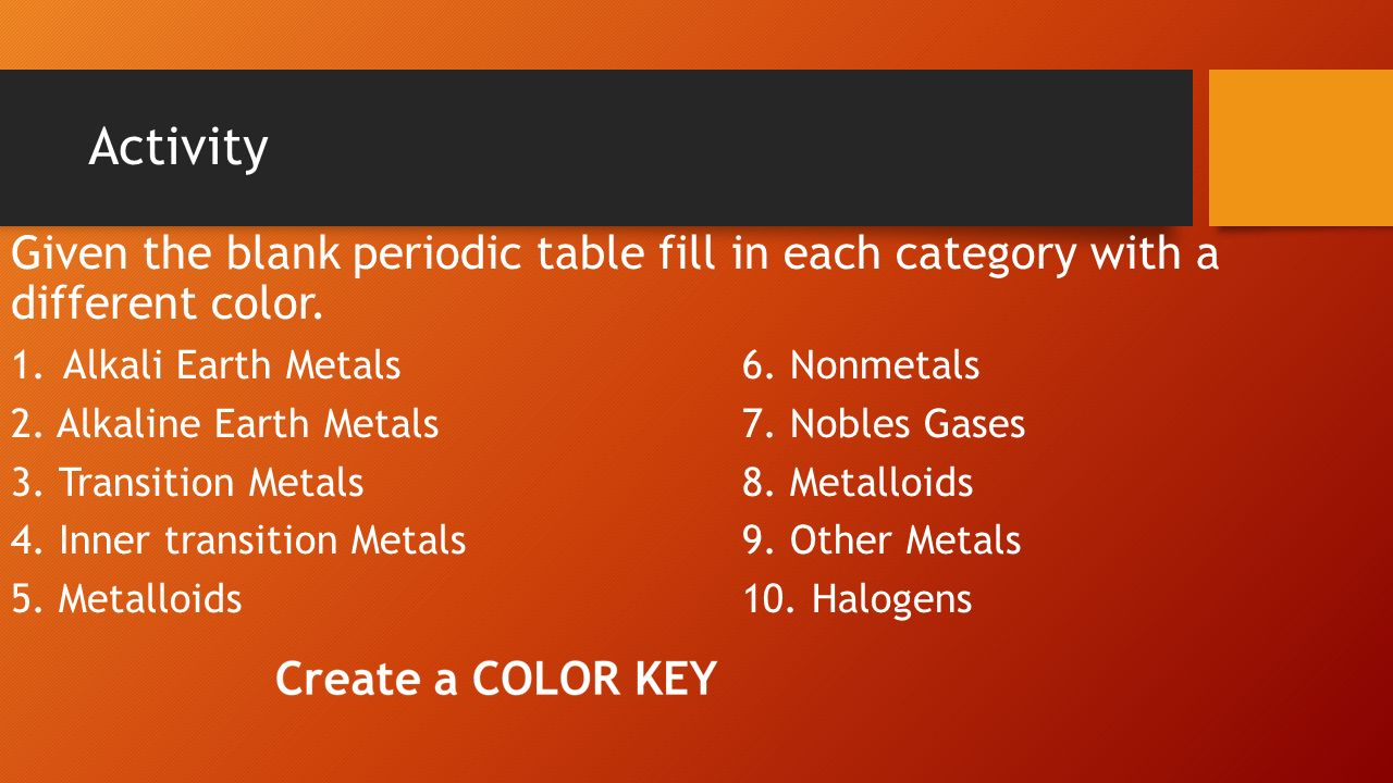 Aim how are elements organized in the periodic table ppt download activity given the blank periodic table fill in each category with a different color alkali gamestrikefo Gallery