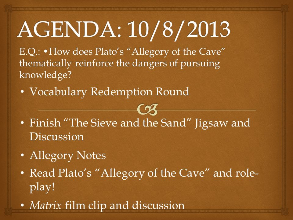 a comparison of platos the allegory of the cave and the film the matrix We will write a custom essay sample on comparing and contrasting the matrix and plato's the allegory of the cave specifically for you for only $1638 $139/page order now.