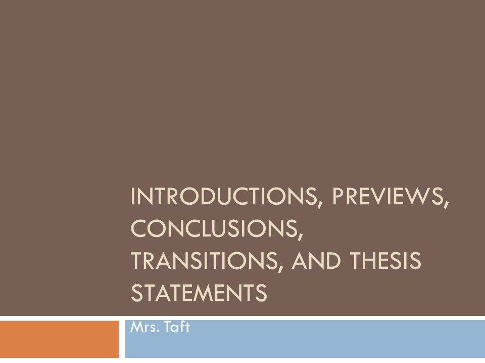 thesis and preview statement