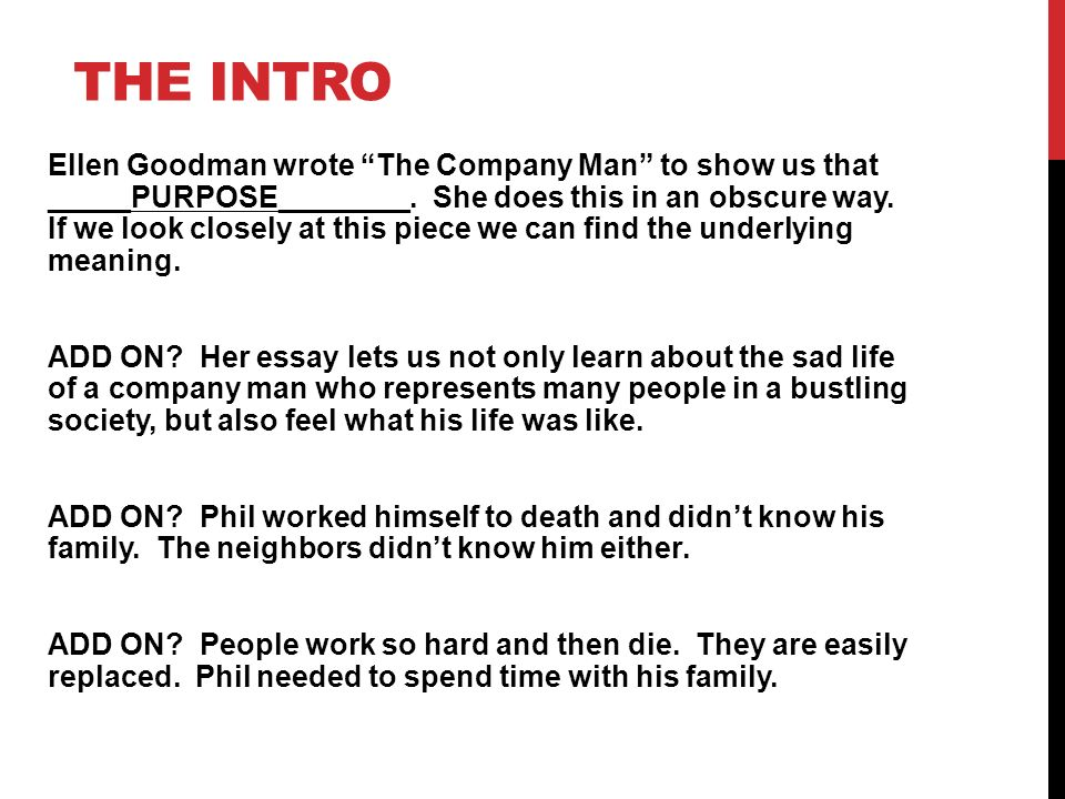"focus on the company man ppt video online  4 the intro ellen goodman wrote ""the company man"""