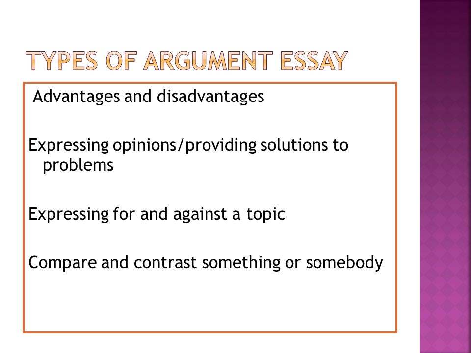 two types of argumentative essays There are two major types of thesis statements: explanatory and argumentative in an argumentative essay, the thesis statement should be a claim.