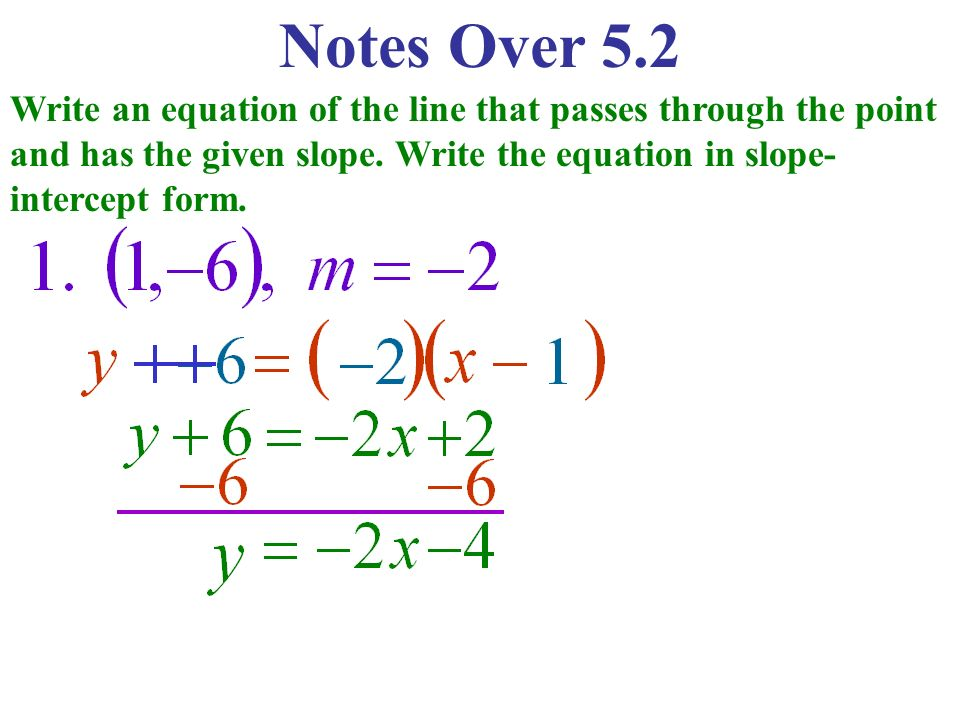slope intercept form passing through points  Notes Over 9.9 Write an equation of the line that passes ...