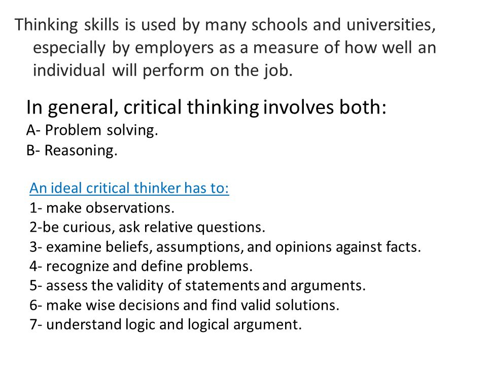 the role of critical thinking in business management Creativity and its importance in business introduction thinking and creative thinkers,highlighting the qualities of a creative person and pointing to how.