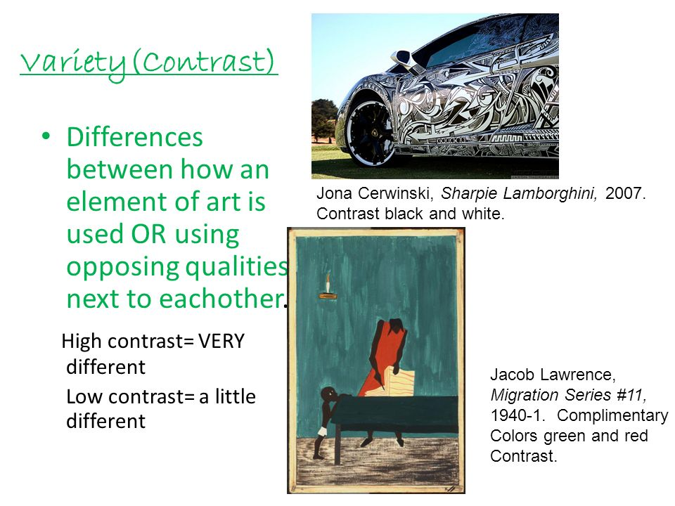 Contrast Element Of Art : Elements and principles of art ppt download