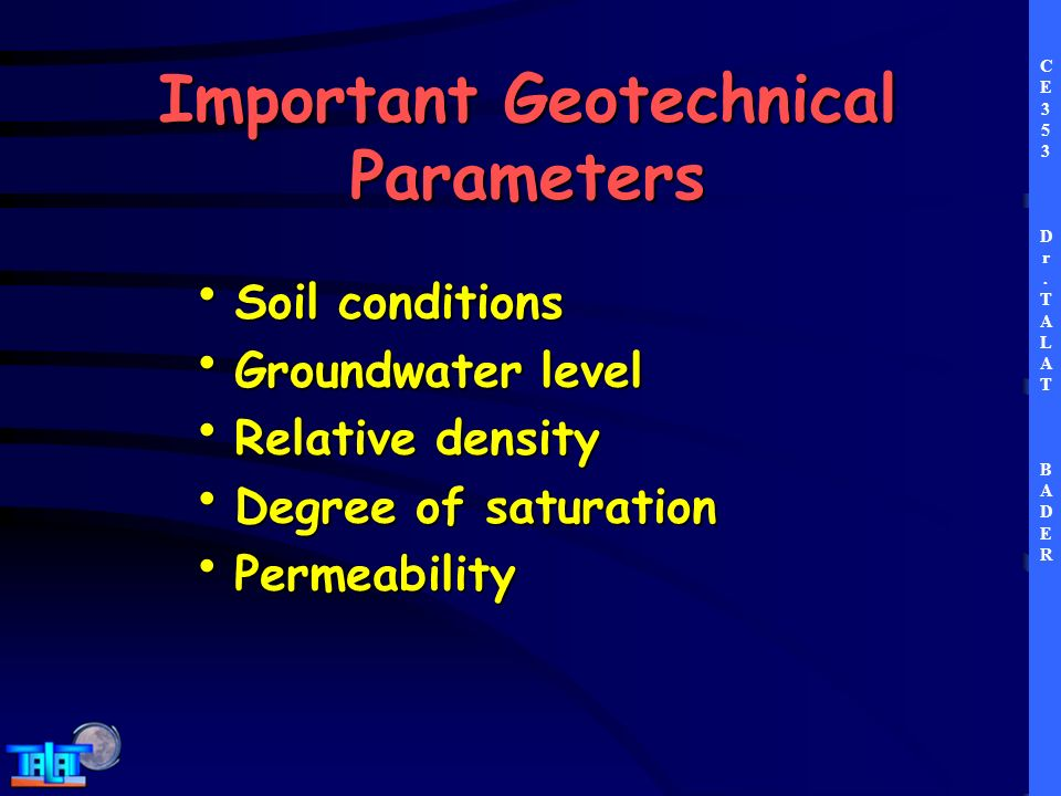 Ground improvement dr talat bader ppt download for Soil quality parameters