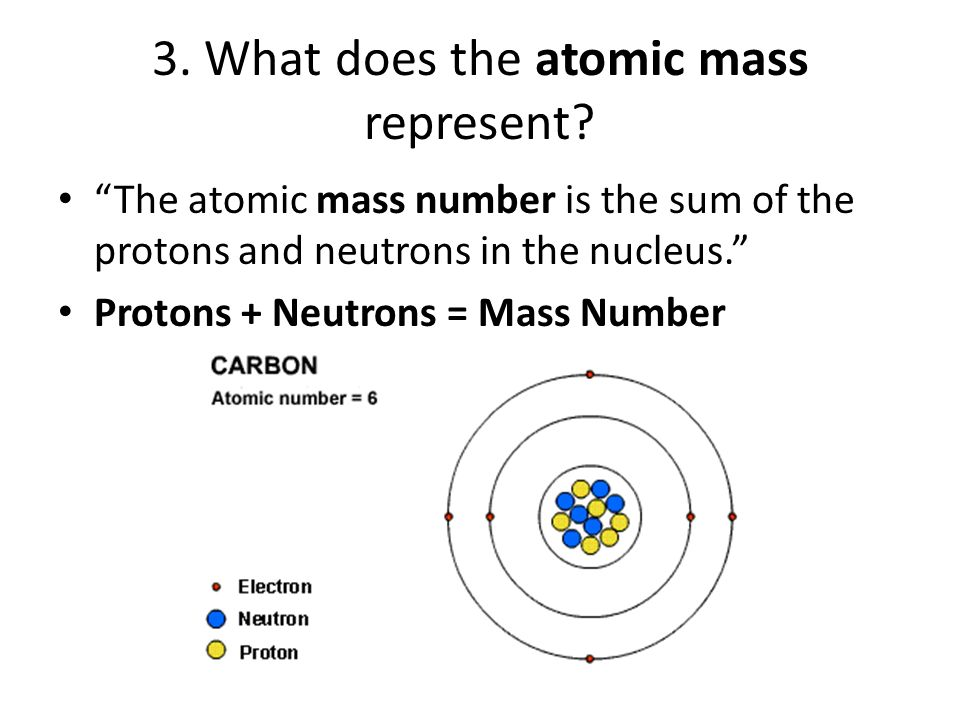 Chemistry 101 answers ppt download what does the atomic mass represent urtaz Image collections