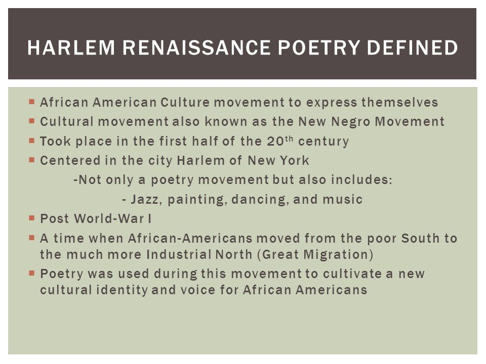 harlem renaissance the great migration essay World war i and boll weevils were major factors in do my essay on the great migration the great migration led to the rise of the harlem renaissance.