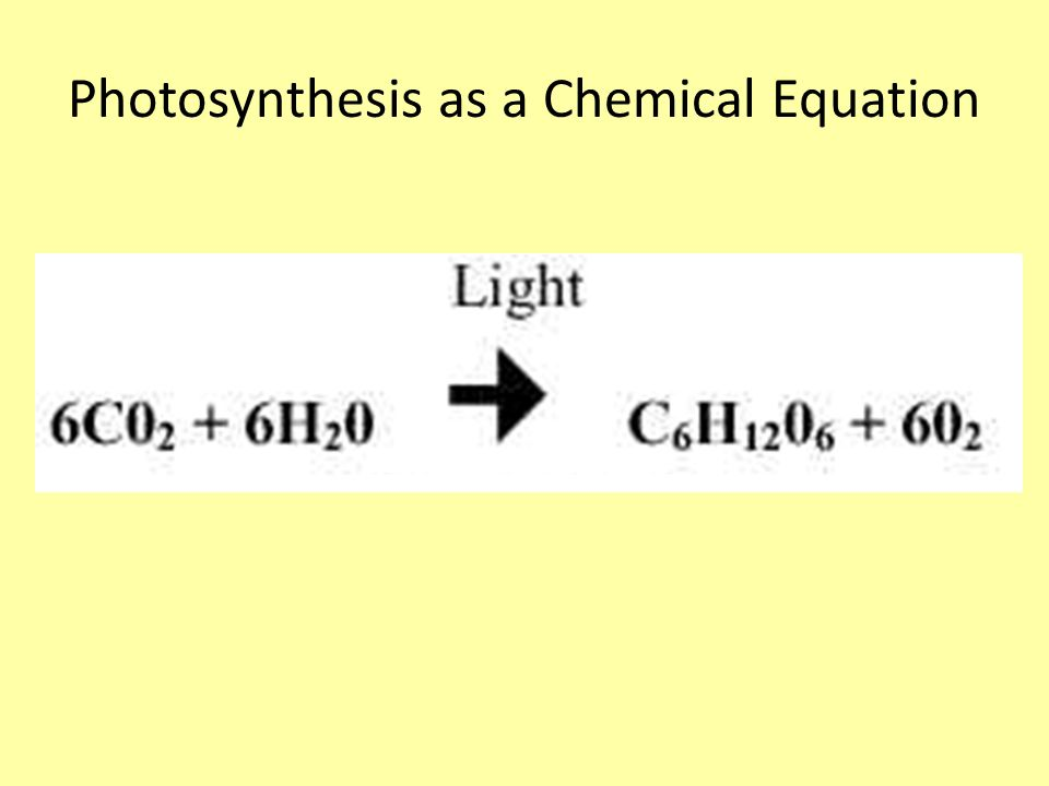photosynthesis chemical equation A process that occurs in all plants, bacteria, protistans that converts light from sun into chemical energy is termed as photosynthesis the light energy is used to.
