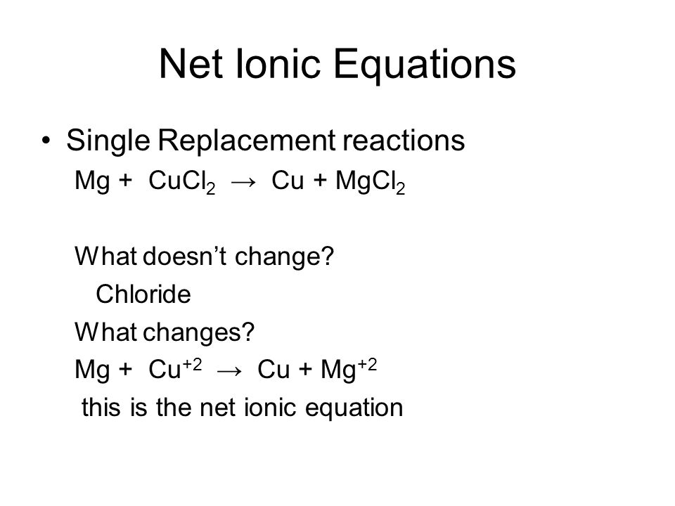 Write A Single Replacement Reaction Equation