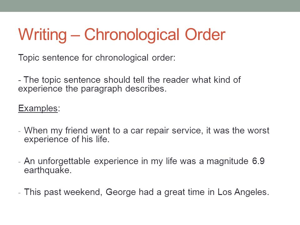 chronological order in paragraph