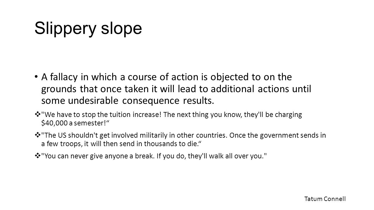 how to avoid slippery slope fallacy