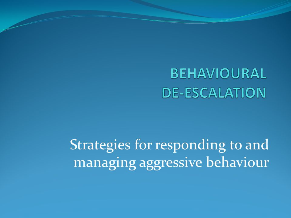 managing and responding to behaviours in Managing aggressive behaviour if a client becomes violent or aggressive and is threatening violence you need to: and to identify and manage challenging behaviours.