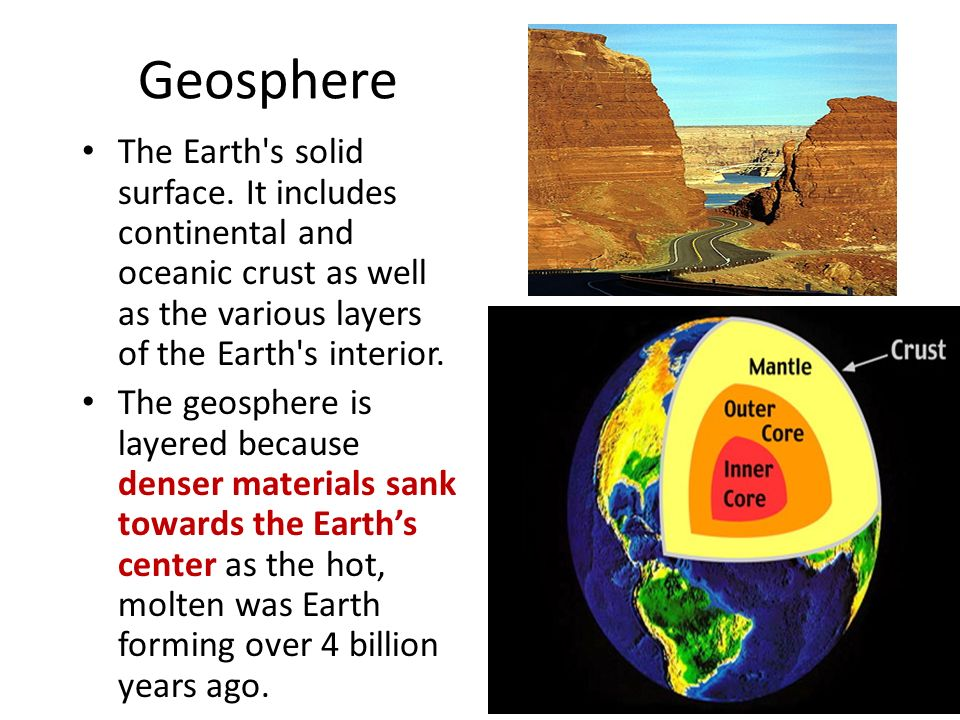 Earth Systems What are the five major spheres of the Earth ...
