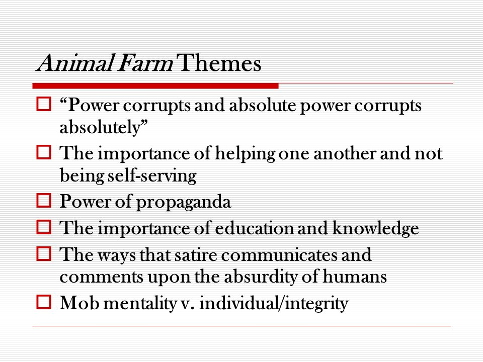 Thesis Statement Essay What Is The Main Theme In Animal Farm By George Orwell How To Write An Essay For High School also Analysis And Synthesis Essay Animal Farm Major Themes  Critical Essays  Cliffsnotes Persuasive Essay Example High School