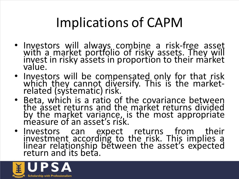 the validity of capital asset pricing Capital asset pricing model (capm) was a revolution in financial theory capm postulates an equilibrium linear association between expected return and risk of an asset.