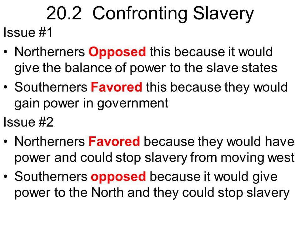 the issue of slavery in america Slavery (the main cause of the american civil war) us history to 1877 – hist101 american military university, 26 april 2014 many factors led to the occurrence of the american civil war the key issues were slavery , different political ideologies, right of the people, and economic reasons.