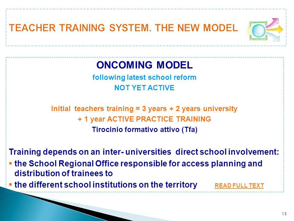 TEACHER TRAINING SYSTEM. THE NEW MODEL