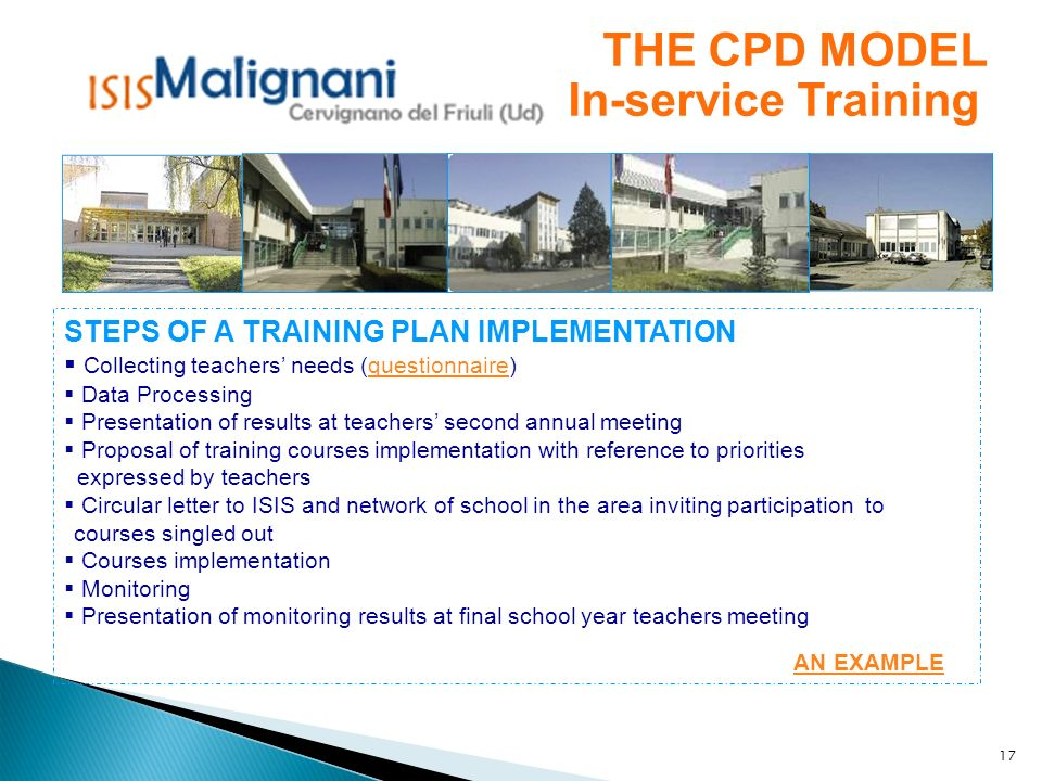 THE CPD MODEL In-service Training
