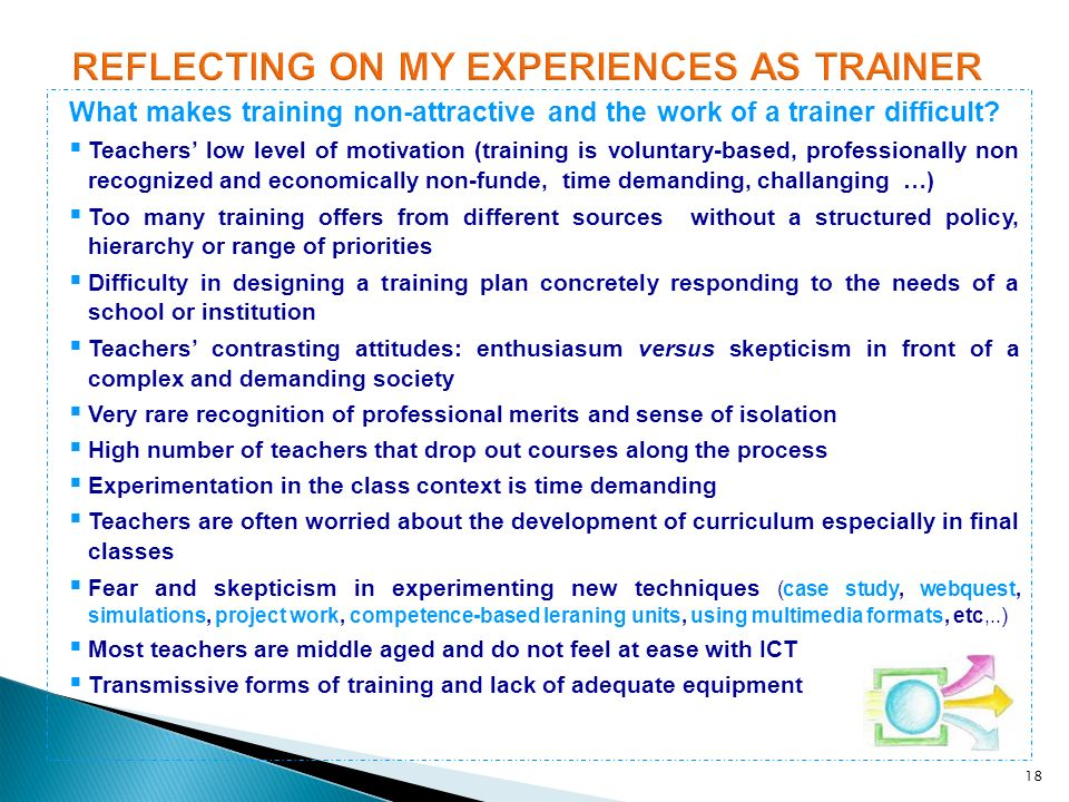 REFLECTING ON MY EXPERIENCES AS TRAINER