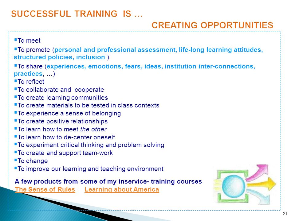 SUCCESSFUL TRAINING IS … CREATING OPPORTUNITIES