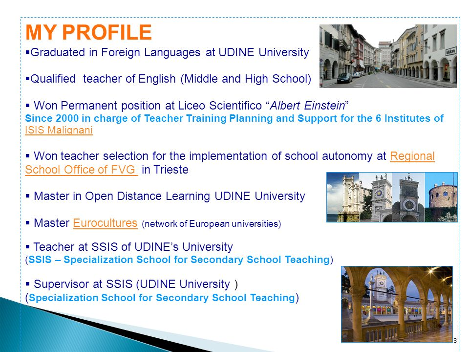 MY PROFILE Graduated in Foreign Languages at UDINE University