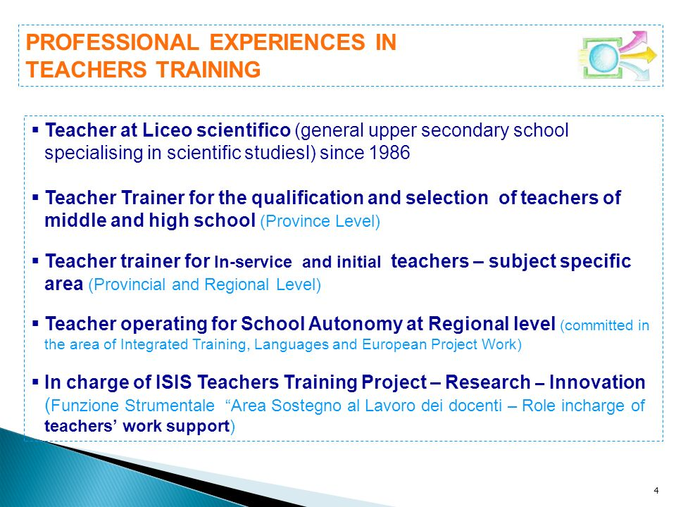 PROFESSIONAL EXPERIENCES IN TEACHERS TRAINING