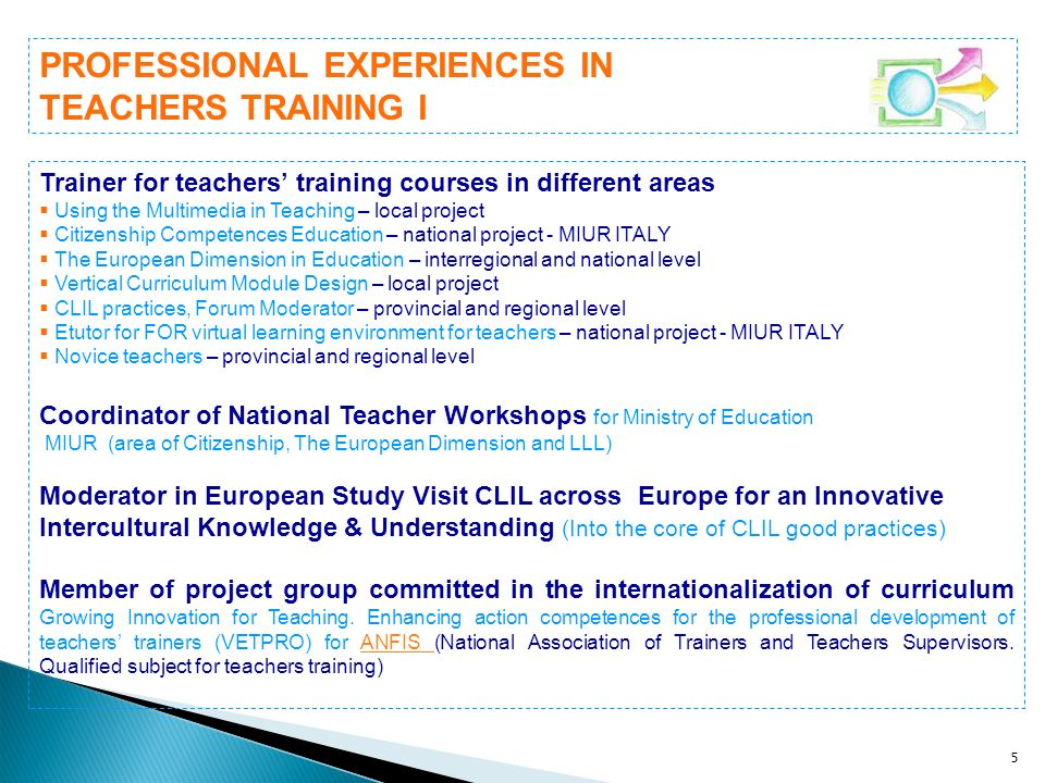 PROFESSIONAL EXPERIENCES IN TEACHERS TRAINING I