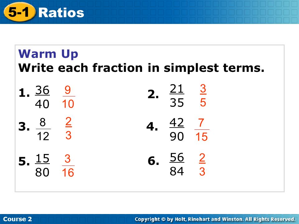 5-1 Ratios Warm Up Write each fraction in simplest terms - ppt ...