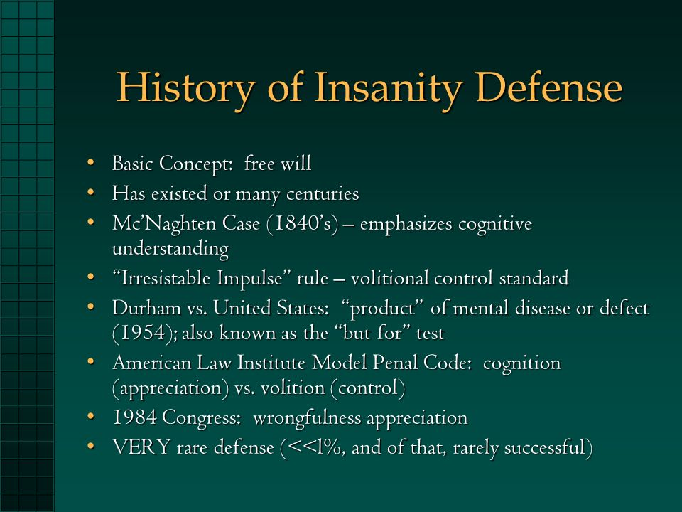 insanity defense versus criminal law 15481 insanity: legal versus psychiatric viewpoints this research paper provides an overview and analysis of legal versus psychiatric/medical views of insanity with a particular focus on the insanity defense and the legal approach to mental illness in the criminal.