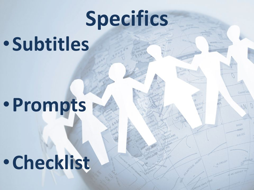 Specifics Subtitles Prompts Checklist 10 minutes