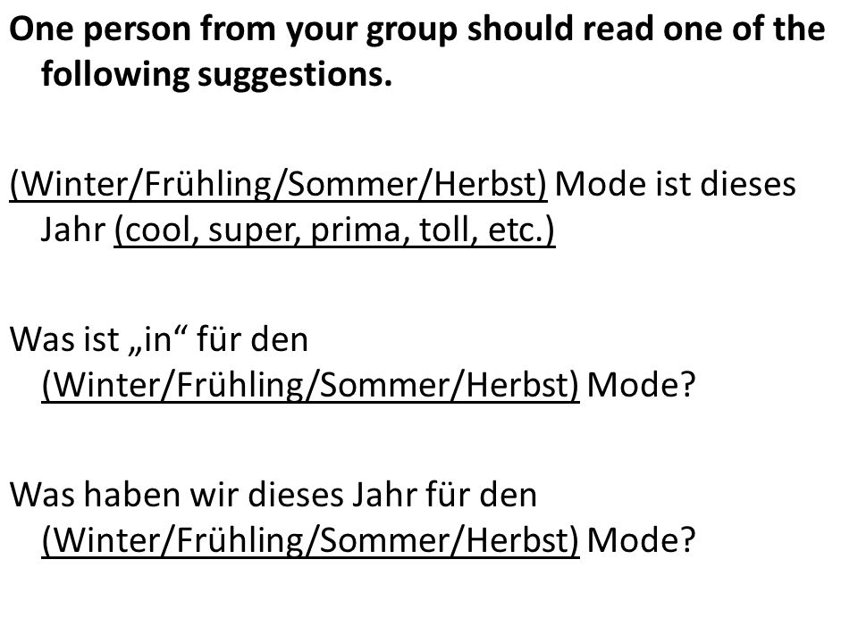 One person from your group should read one of the following suggestions.