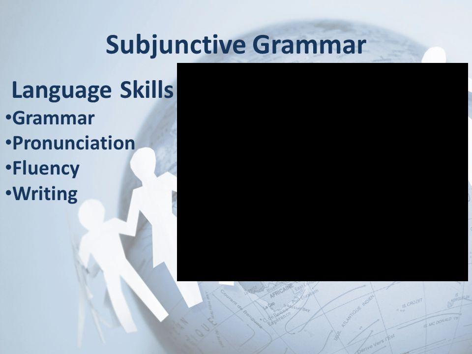 Subjunctive Grammar Language Skills Grammar Pronunciation Fluency