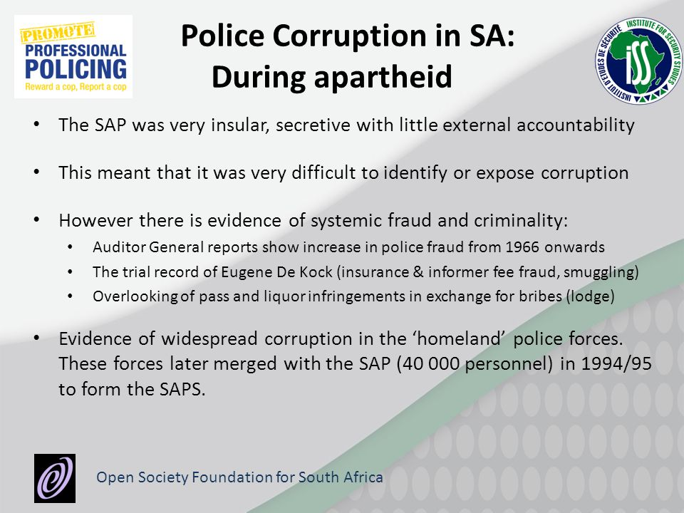 police corruption in south africa Easy access to explosives and corruption in the police system are some of the reasons for a dramatic increase in cash-in-transit heists' a study has found  south africa.
