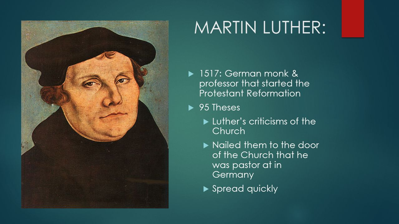 martin luther 13 thesis The ninety-five theses or disputation on the power of indulgences (latin: disputatio pro declaratione virtutis indulgentiarum) are a list of propositions for an academic disputation written in 1517 by martin luther, professor of moral theology at the university of wittenberg, germany, that started the reformation, a schism in the catholic church.