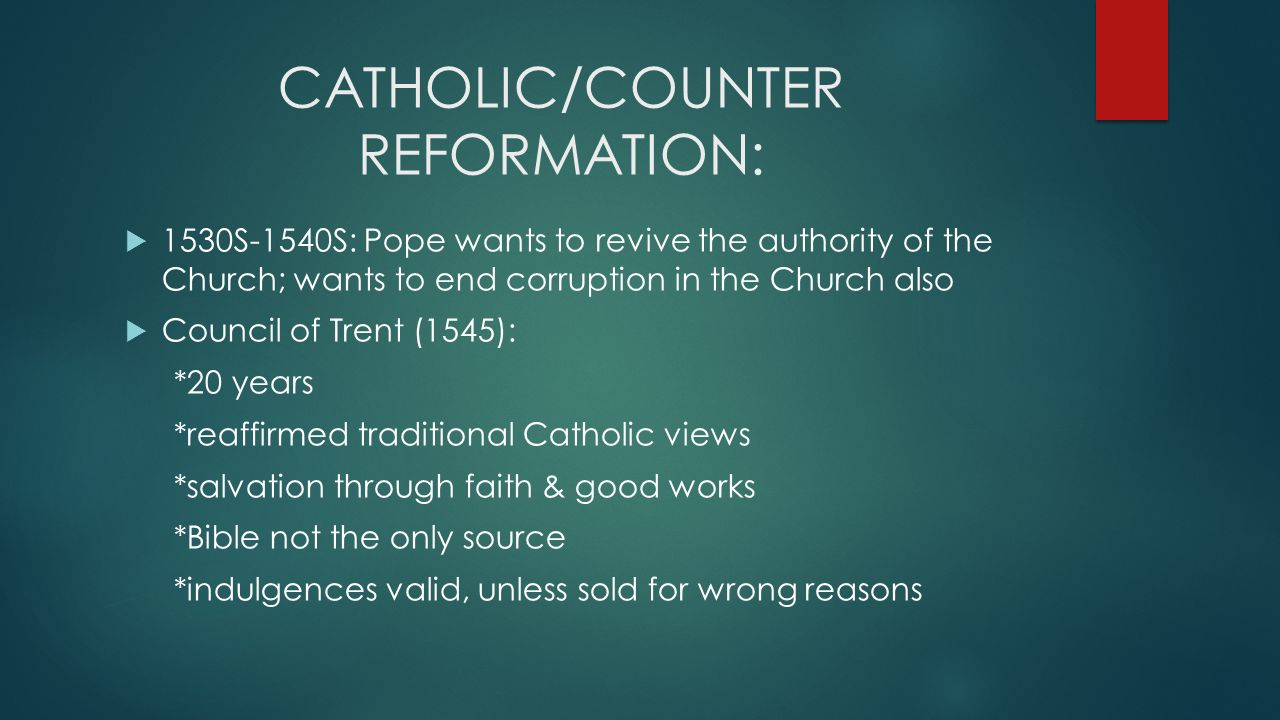 catholic reform We often hear and read that martin luther ignited the protestant reformation in 1517 because the church was in a state of severe moral and institutional decay and there was no hope of real reform in truth, the authentic renewal of the church started long before luther was even born fronts of.