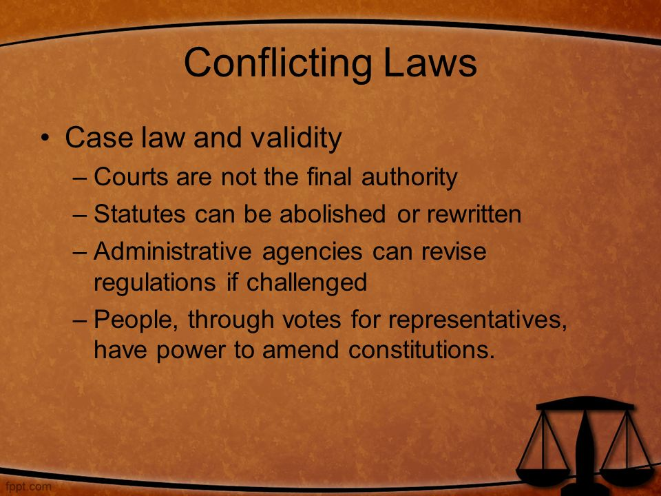 Conflicting Laws Case law and validity