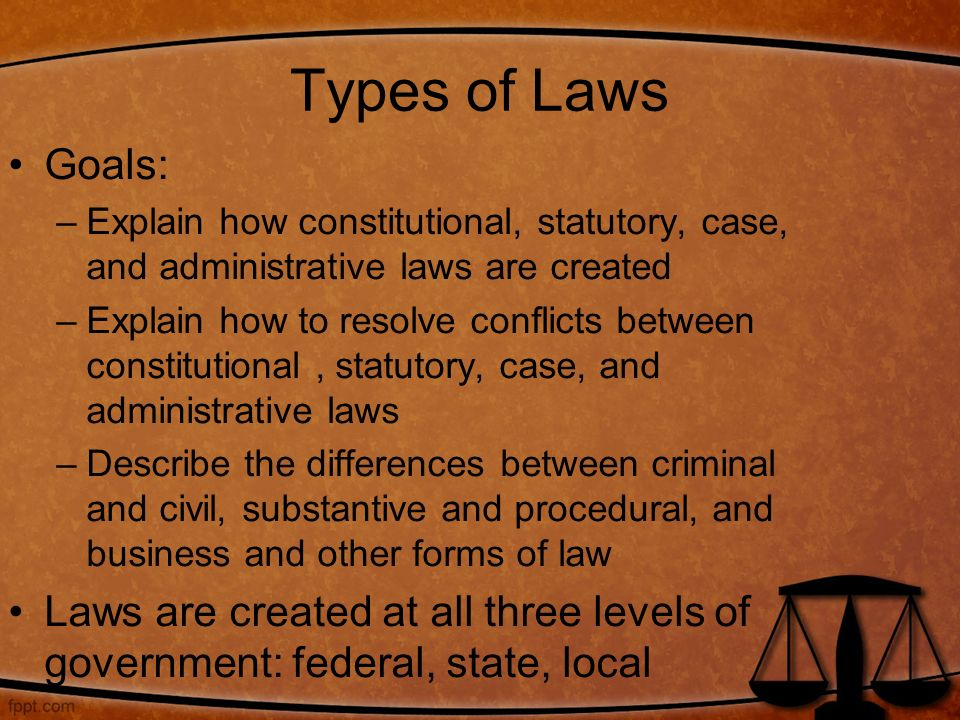 Types of Laws Goals: Explain how constitutional, statutory, case, and administrative laws are created.