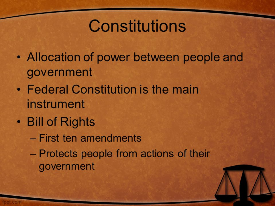 Constitutions Allocation of power between people and government