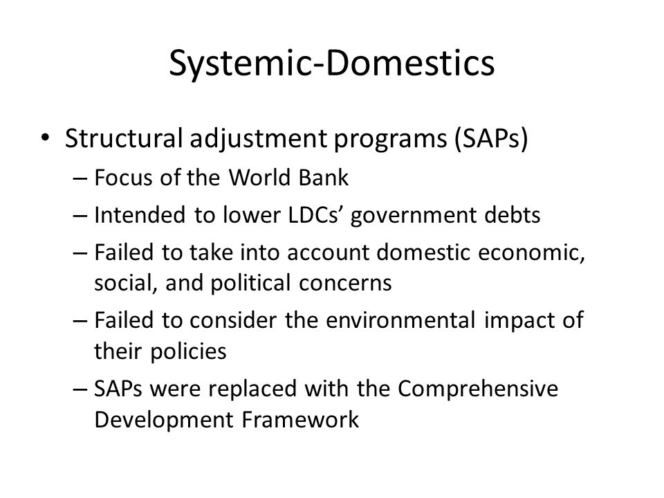 structural adjustment economic performance Institutions in the economic development of member states and the  structural  adjustment programs originate from an economic school.