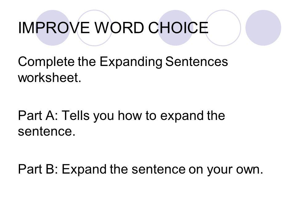 Word Usage Worksheets | Word Choice Worksheets