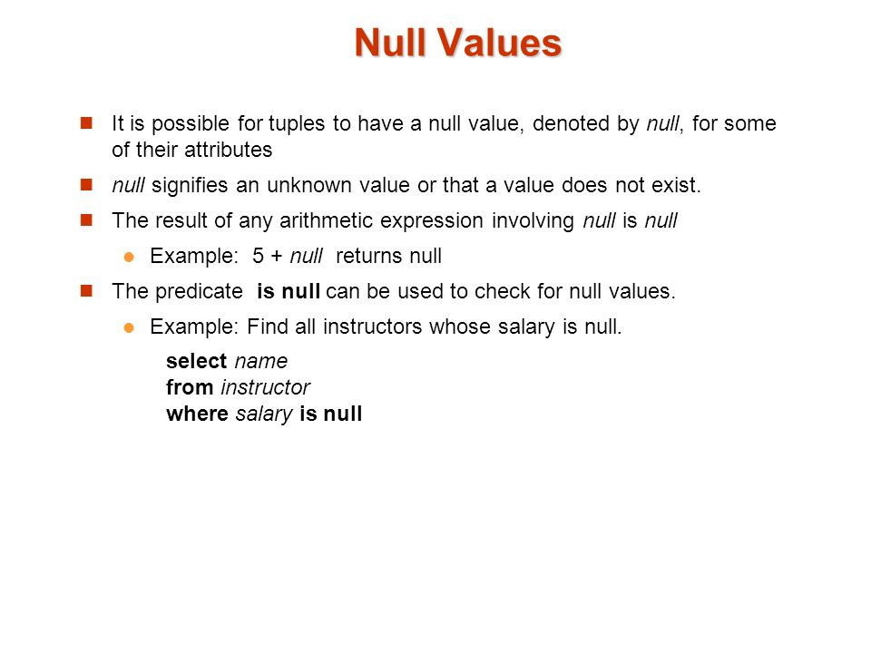 how to choose a null value from sql