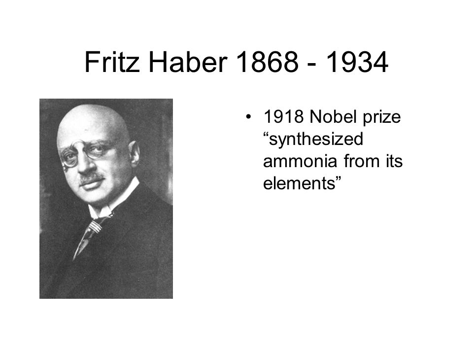 "fritz haber and his involvement in synthesizing ammonia On 13 october 1908, fritz haber fi led his patent on the ""synthesis of ammonia from its elements"" how a century of ammonia synthesis changed the world."