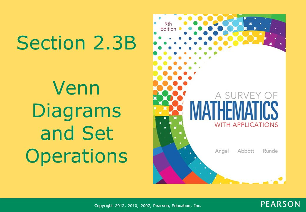 Section 23b Venn Diagrams And Set Operations Ppt Video Online