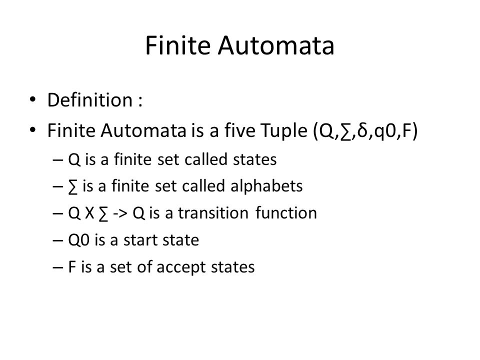 Charming 2 Finite Automata Definition :