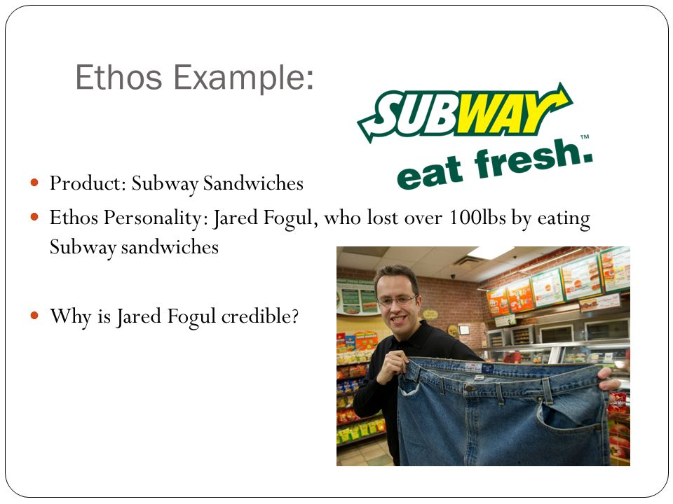 Ethos Example: Product: Subway Sandwiches