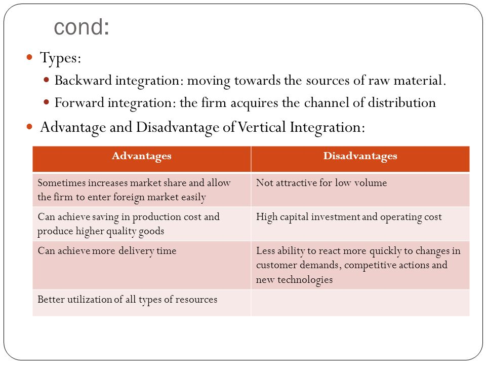 disadvantages of vertical integration Backward integration refers to the process in which a company purchases or internally produces segments of its supply chain in other words, it is the acquisition of controlled subsidiaries aimed at the creation or production of certain inputs that could be utilized in the production this.