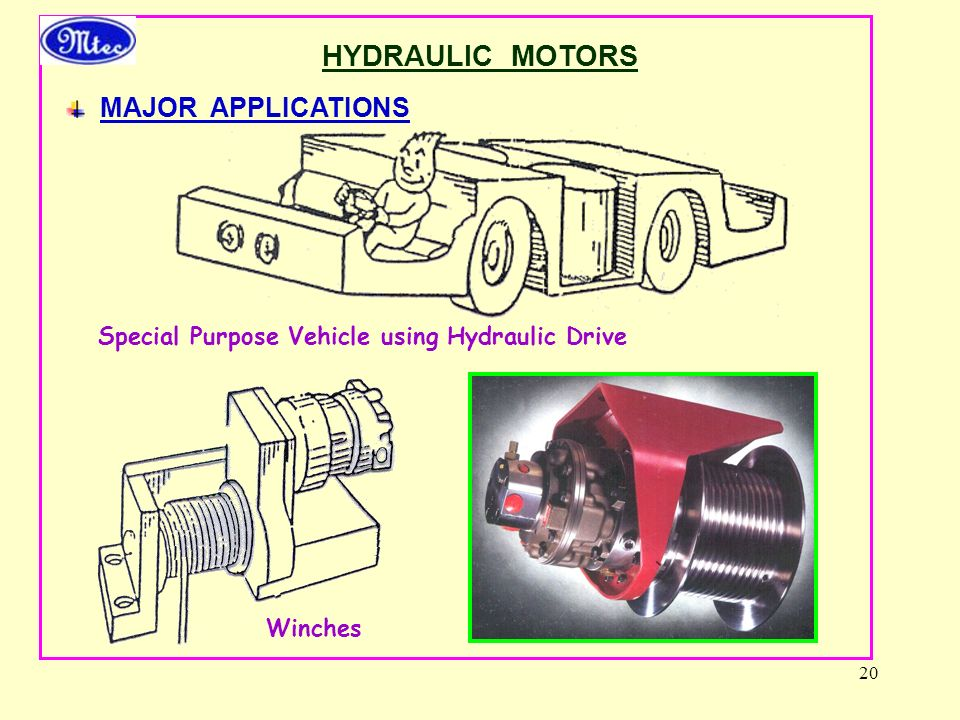 HYDRAULIC MOTORS MAJOR APPLICATIONS
